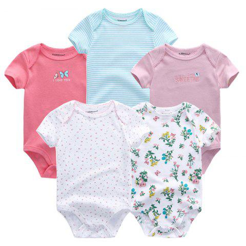 KIDDIEZOOM Universal Baby Jumpsuit 5pcs - multicolor D 3 - 6 MONTHS