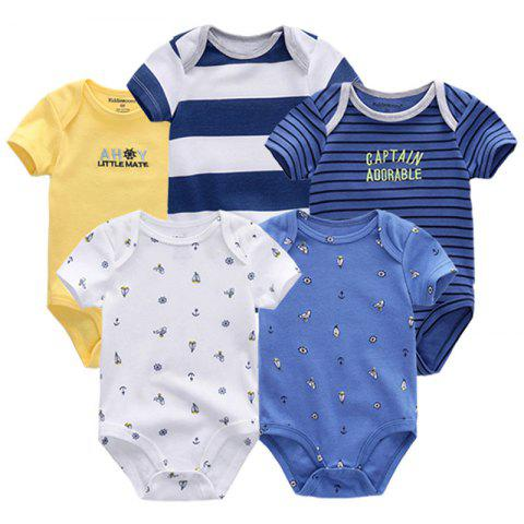 KIDDIEZOOM Universal Baby Jumpsuit 5pcs - multicolor E 3 - 6 MONTHS