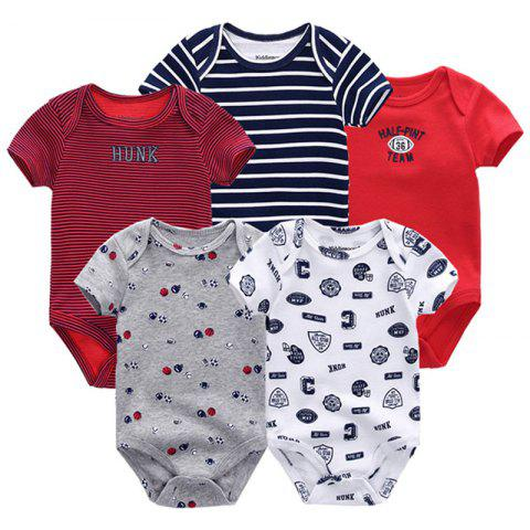 KIDDIEZOOM Universal Baby Jumpsuit 5pcs - multicolor F 9 - 12 MONTHS