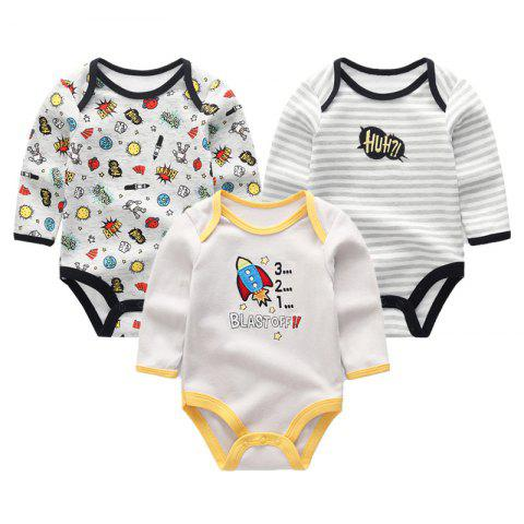 KIDDIEZOOM Baby Cute Fashion Long Sleeve Jumpsuit 3pcs - multicolor A 6 - 9 MONTHS