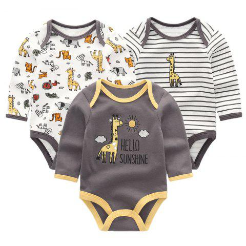 KIDDIEZOOM Baby Cute Fashion Long Sleeve Jumpsuit 3pcs - multicolor E 0 - 3 MONTHS