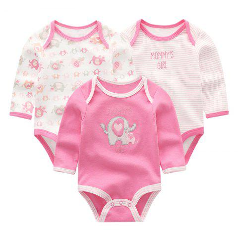 KIDDIEZOOM Baby Cute Fashion Long Sleeve Jumpsuit 3pcs - multicolor I 3 - 6 MONTHS