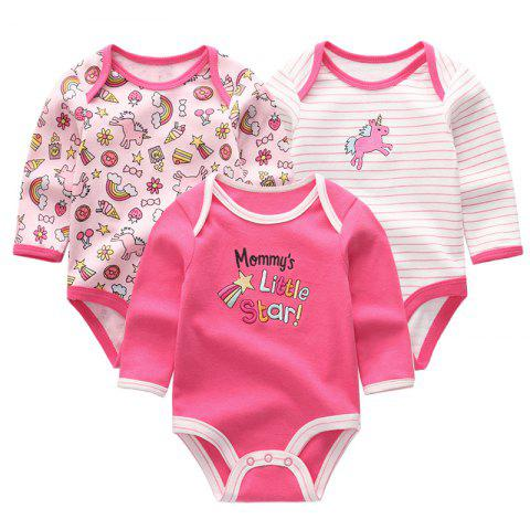 KIDDIEZOOM Baby Cute Fashion Long Sleeve Jumpsuit 3pcs - multicolor F 9 - 12 MONTHS