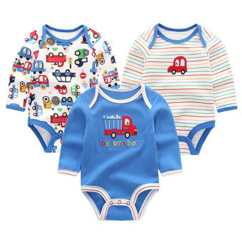 KIDDIEZOOM Baby Cute Fashion Long Sleeve Jumpsuit 3pcs - multicolor B 3 - 6 MONTHS