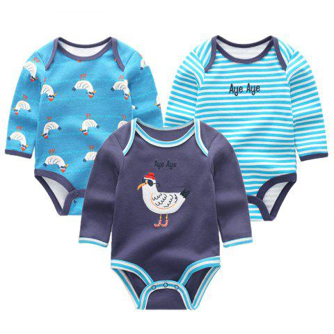 KIDDIEZOOM Baby Cute Fashion Long Sleeve Jumpsuit 3pcs - multicolor D 3 - 6 MONTHS