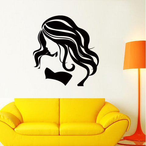 DX097 Fashion Long Hair Beauty Removable Wall Sticker - BLACK