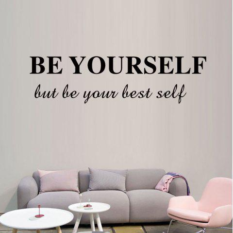 DX087 Be Yourself Personality Decoration Carved Wall Sticker - BLACK