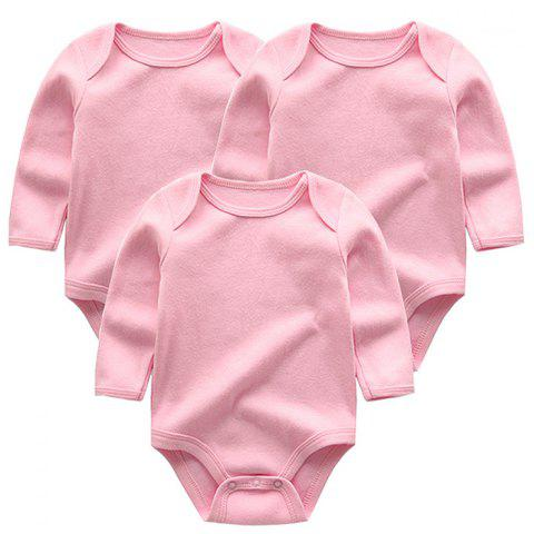 KIDDIEZOOM Solid Color Sleeve Baby Romper 3pcs - PINK 6 - 9 MONTHS