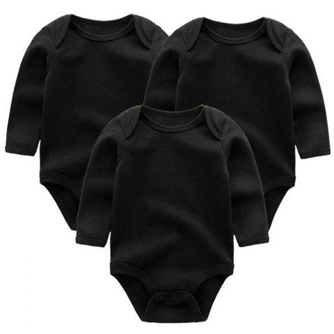 KIDDIEZOOM Solid Color Sleeve Baby Romper 3pcs - BLACK 0 - 3 MONTHS