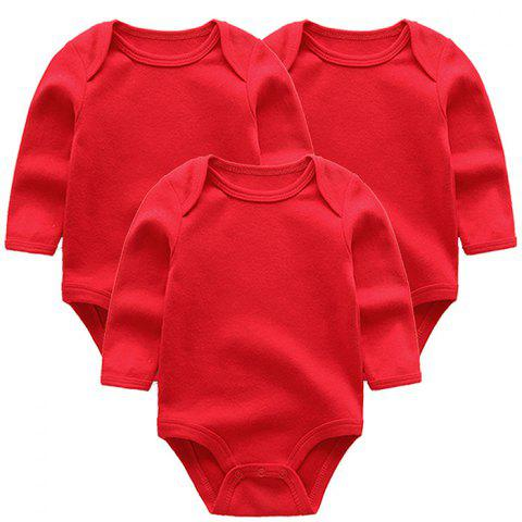KIDDIEZOOM Solid Color Sleeve Baby Romper 3pcs - RED 9 - 12 MONTHS