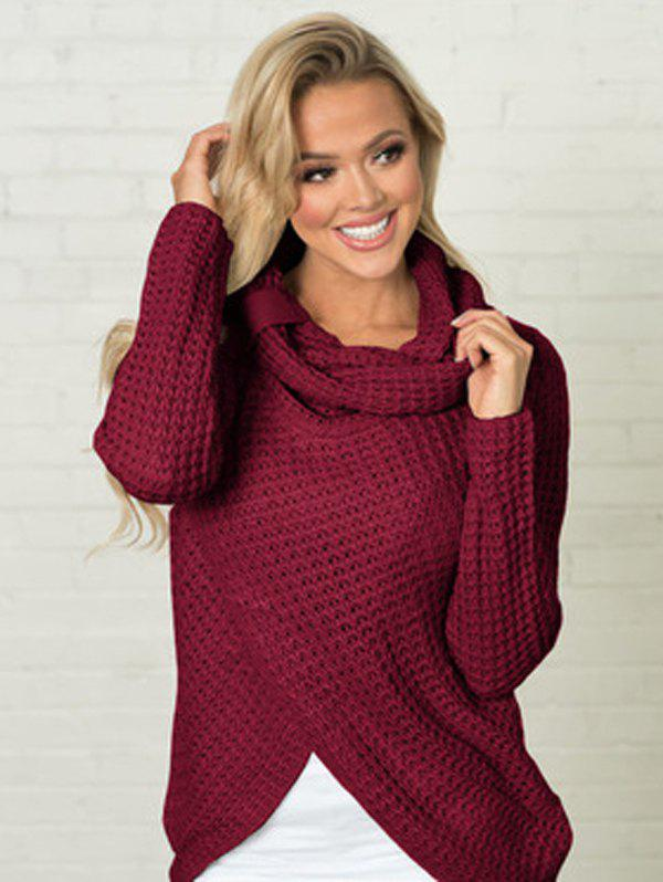 Women Long Sleeve Fashionable Knitting Sweater - RED WINE M