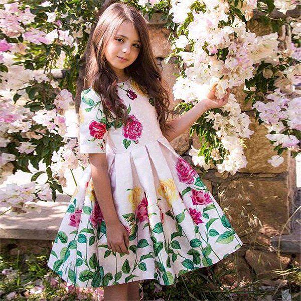 Duokipolla 8901 Girls Dress Rose Positioning Print Pleated Skirt - PINK 9-10YEAR(140)