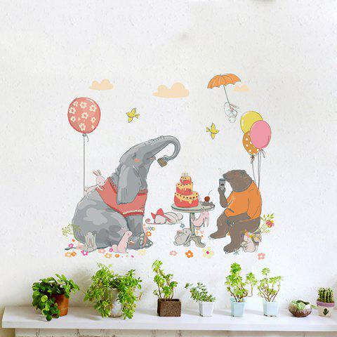 Y1599 Cartoon Elephant Hand-painted Personality PVC Background Wall Sticker - multicolor