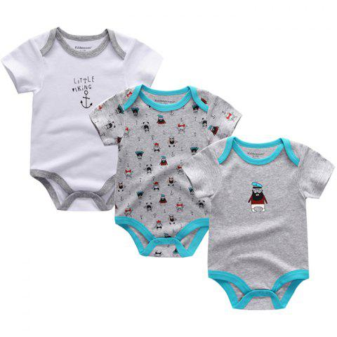 Kiddiezoom Newborn Baby Short-sleeved Romper 3pcs - multicolor A 9 - 12 MONTHS