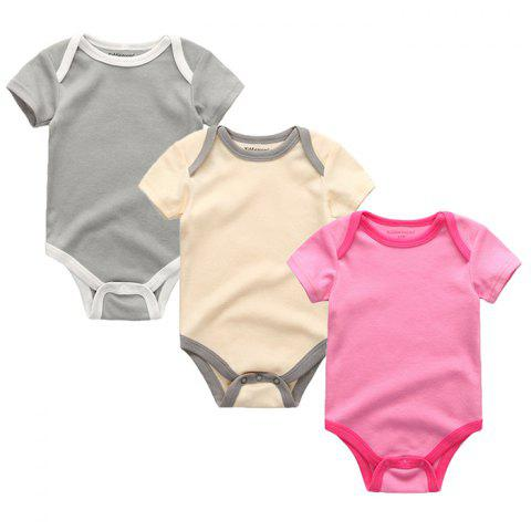 Kiddiezoom Newborn Baby Short-sleeved Romper 3pcs - multicolor F 0 - 3 MONTHS