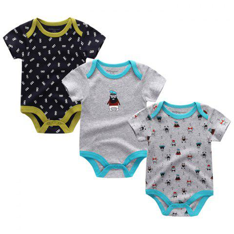 Kiddiezoom Newborn Baby Short-sleeved Romper 3pcs - multicolor I 3 - 6 MONTHS