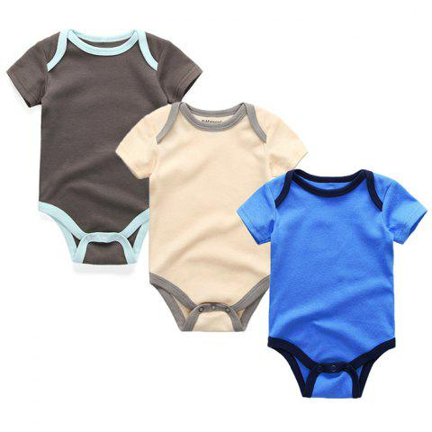 Kiddiezoom Newborn Baby Short-sleeved Romper 3pcs - multicolor E 9 - 12 MONTHS
