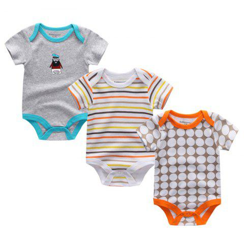 Kiddiezoom Newborn Baby Cotton Underwear Short Sleeve Romper 3pcs - multicolor K 6 - 9 MONTHS