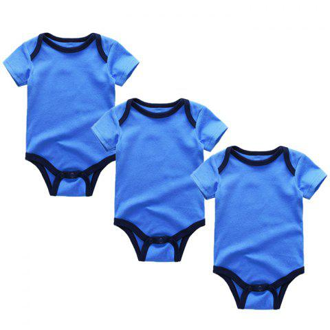 Kiddiezoom Newborn Baby Short Sleeve Romper 3pcs - BLUEBERRY BLUE 3 - 6 MONTHS
