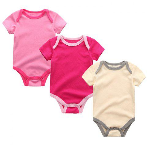Kiddiezoom Newborn Baby Short-sleeved Romper 3pcs - multicolor H 9 - 12 MONTHS