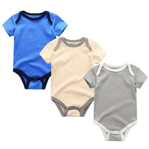 Kiddiezoom Newborn Baby Short-sleeved Romper 3pcs - multicolor D 3 - 6 MONTHS