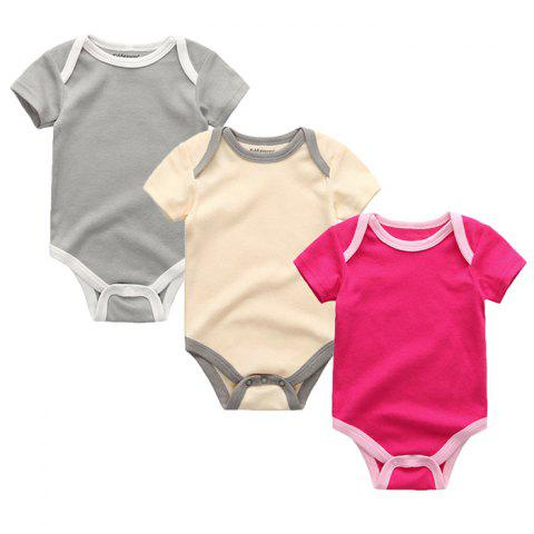 Kiddiezoom Newborn Baby Short-sleeved Romper 3pcs - multicolor G 6 - 9 MONTHS