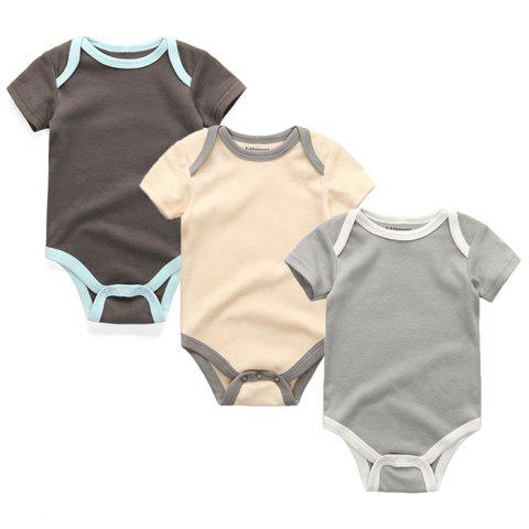 Kiddiezoom Newborn Baby Short-sleeved Romper 3pcs - multicolor C 3 - 6 MONTHS