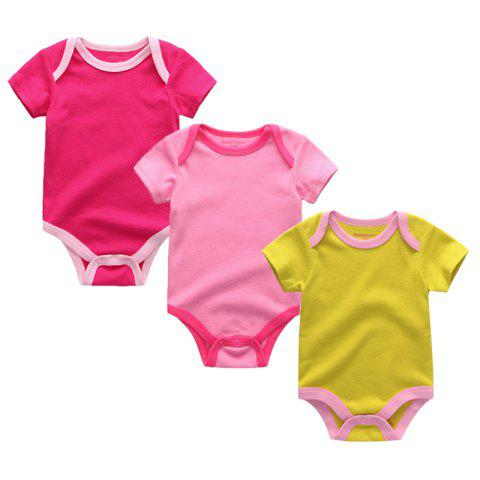 Kiddiezoom Newborn Baby Cotton Underwear Short Sleeve Romper 3pcs - multicolor B 0 - 3 MONTHS