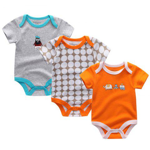 Kiddiezoom Newborn Baby Cotton Underwear Short Sleeve Romper 3pcs - multicolor H 3 - 6 MONTHS
