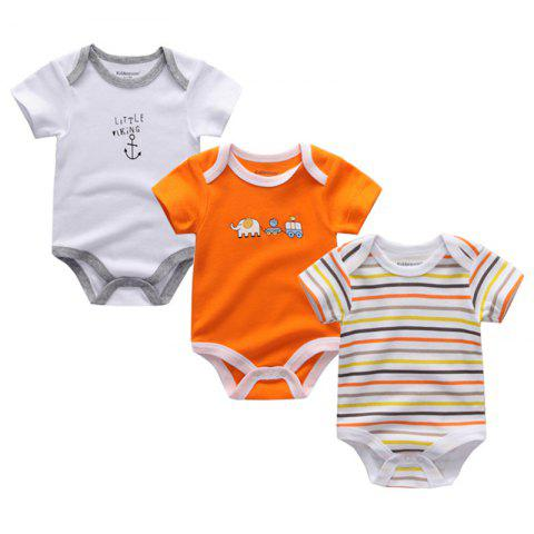 Kiddiezoom Newborn Baby Romper 3pcs - multicolor C 6 - 9 MONTHS