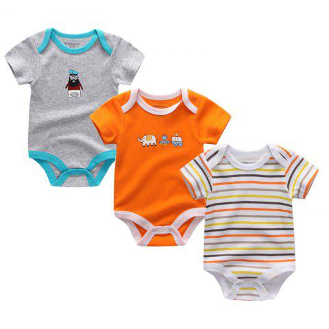 Kiddiezoom Newborn Baby Romper 3pcs - multicolor D 3 - 6 MONTHS