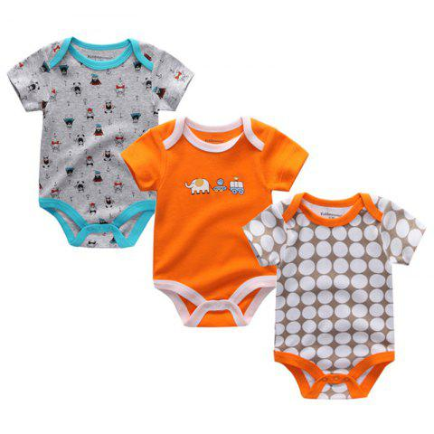 Kiddiezoom Newborn Baby Cotton Underwear Short Sleeve Romper 3pcs - multicolor I 6 - 9 MONTHS