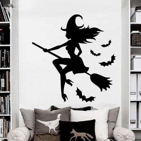 Creative Charcoal Halloween Witch Wall Sticker - CARBON FIBER BLACK