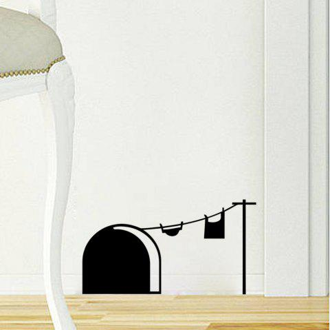 33001 Cute Mouse Hole Carved Wall Stickers Personality Creative Living Room Bedroom Decoration - BLACK MOUSE HOLE