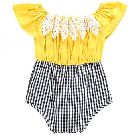 YBB - 312 Summer Cotton Jumpsuit Triangle Romper Suit - YELLOW 6 - 9 MONTHS