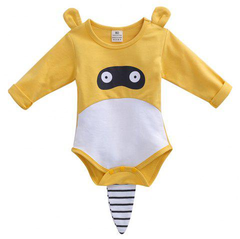 ET0177 Cute Striped Hooded Set - YELLOW 3 - 6 MONTHS