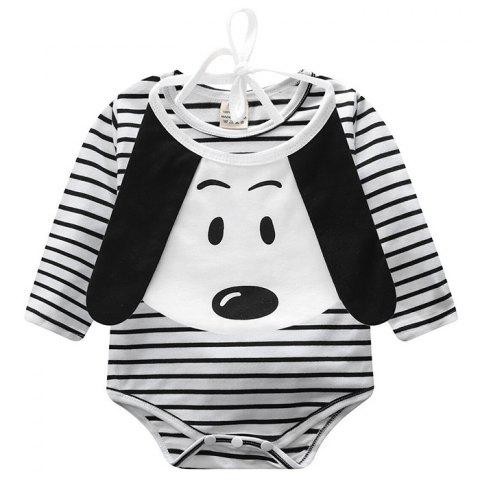 ET0195 Long Sleeve Striped Baby Clothing Smock with Saliva Towel - BLACK 12 - 18 MONTHS