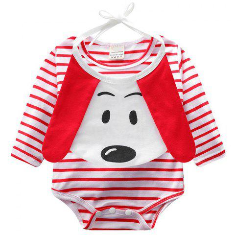ET0195 Long Sleeve Striped Baby Clothing Smock with Saliva Towel - RED 9 - 12 MONTHS
