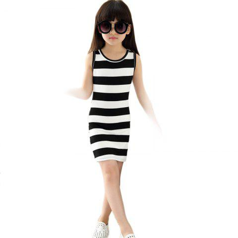 Summer Girls Classic Black and White Dress Cotton Striped T-shirt - BLACK 6-7YEARS