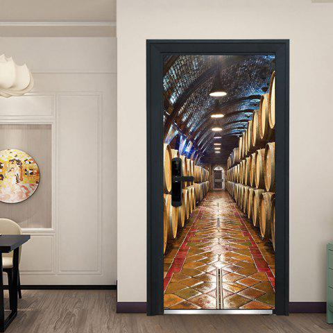 Mt333 Underground Wine Cellar Creative 3D Door Sticker 2pcs - multicolor