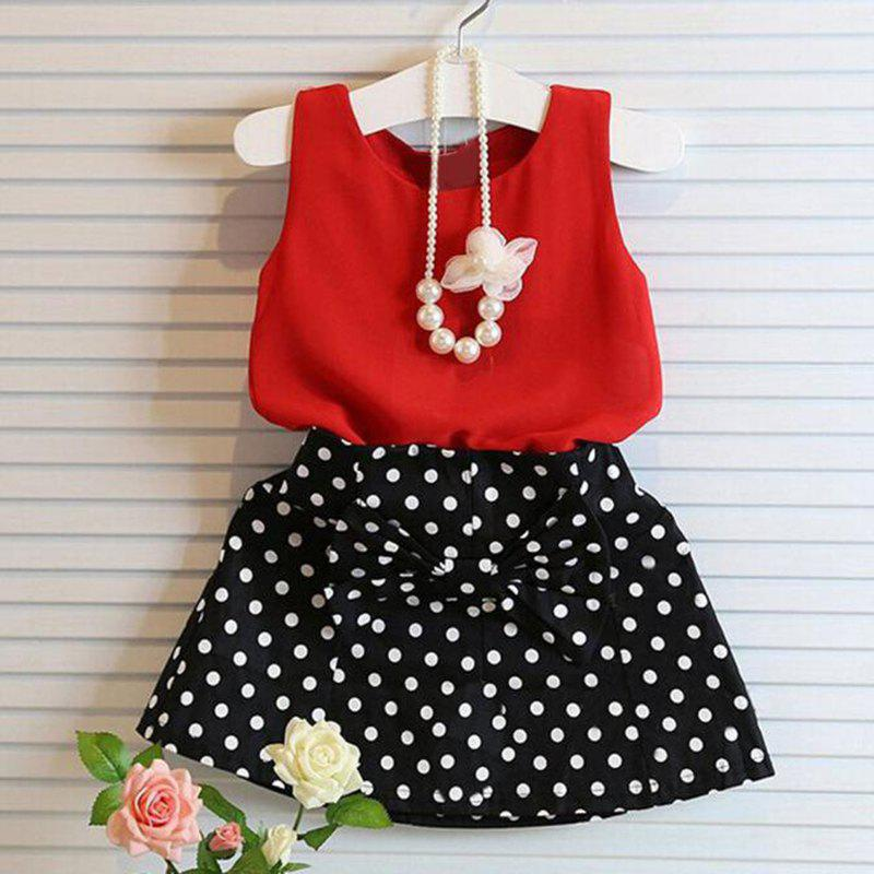 Girls Wave Point Bow Cotton Top Skirt Two-piece - RED 10-11YEARS(150)