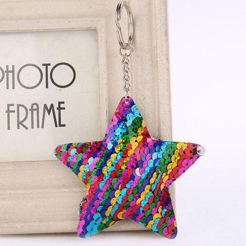 Cute Chaveiro Star Glitter Pompom Sequins Key Ring - multicolor