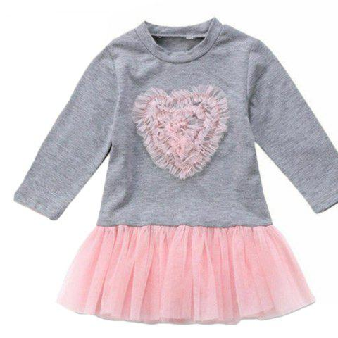 FT Baby Girl Cute Love Mesh Dress - GRAY CLOUD 2-3YEARS