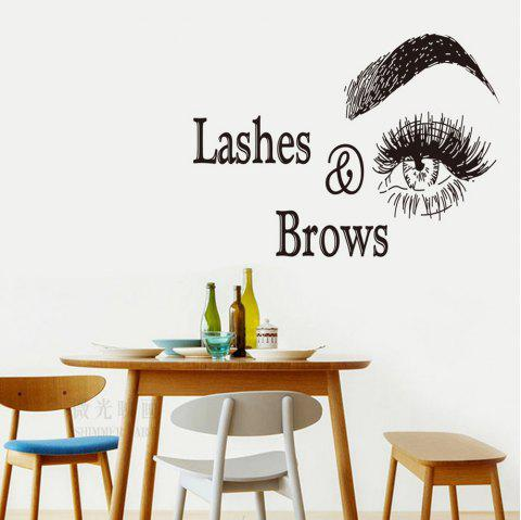 Lashes Brows Home Background Decorative Wall Sticker - BLACK
