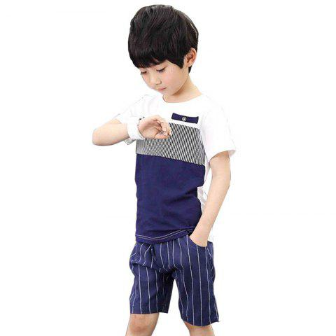 Casual Short Sleeves T-shirt Shorts Set for Boys - CADETBLUE 11 - 12 YEARS