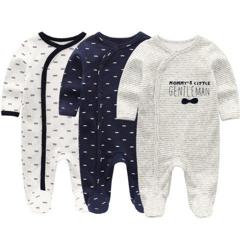 KIDDIEZOOM Baby Long Sleeve Romper 3pcs - multicolor A 3 - 6 MONTHS
