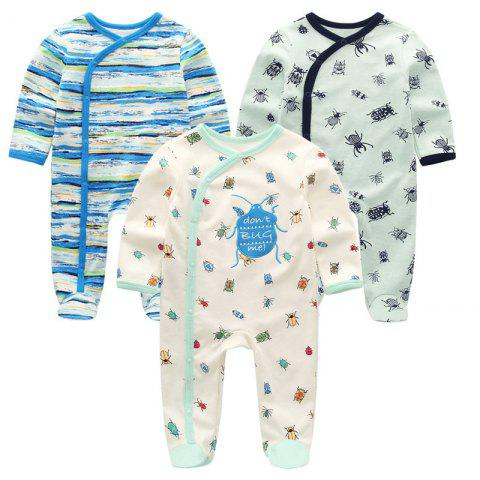 KIDDIEZOOM Baby Long Sleeve Romper 3pcs - multicolor B 6 - 9 MONTHS