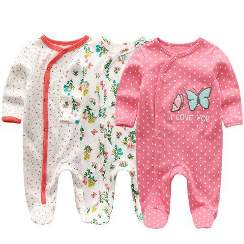 KIDDIEZOOM Baby Long Sleeve Romper 3pcs - multicolor D 0 - 3 MONTHS