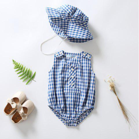 3279 Girl Blue Plaid Jumpsuit Sunhat - OCEAN BLUE 12-18MONTH(80)