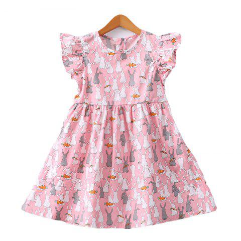 SX - ED6564 Robe fille en coton avec col rond - Rose 5YEARS(110)